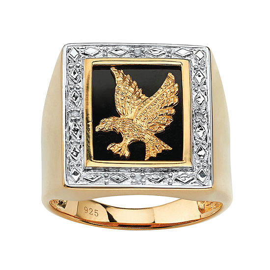 Eagle Mens Diamond Accent Genuine White Diamond 14K Gold Over Silver Fashion Ring