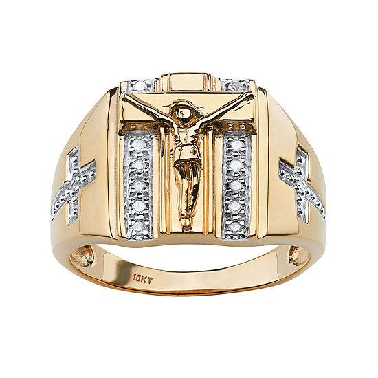Mens 1/10 CT. T.W. Genuine White Diamond 18K Gold Over Silver Fashion Ring