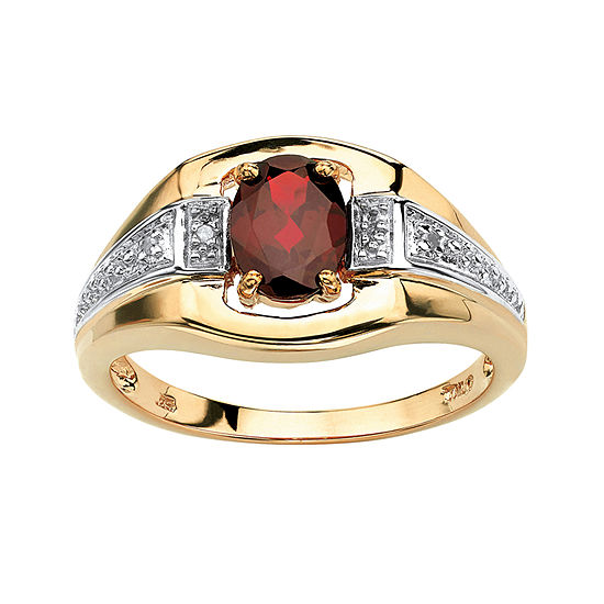 Mens 1 3/8 CT. T.W. Genuine Red Garnet 18K Gold Over Silver Fashion Ring