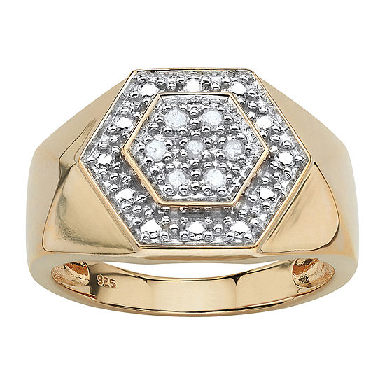 Mens 1/10 CT. T.W. Genuine White Diamond 18K Gold Over Silver Fashion Ring