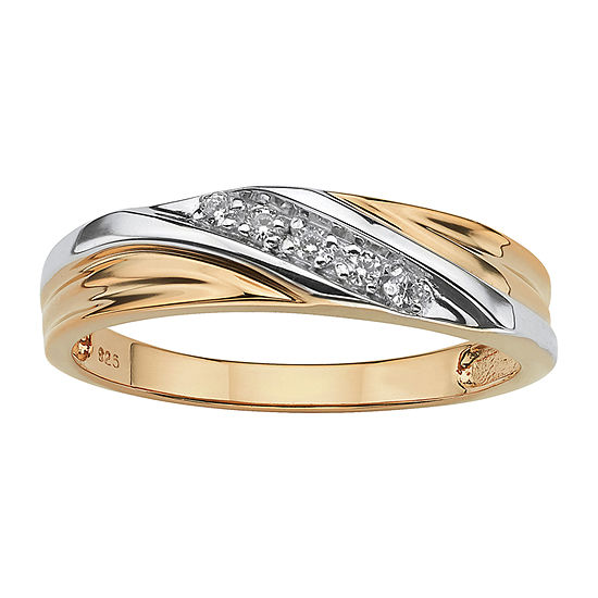 Diamonart Mens 2MM 1/10 CT. T.W. White Cubic Zirconia 18K Gold Over Silver Band