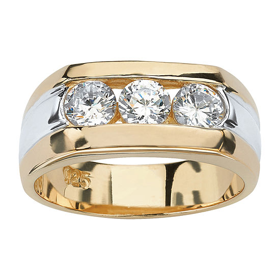 Mens 1 1/2 CT. T.W. White Cubic Zirconia 14K Gold Over Silver Fashion Ring