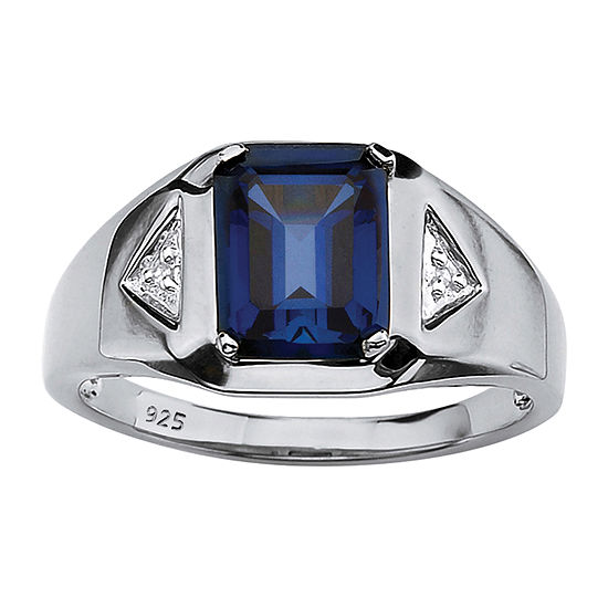 Mens 2 3/4 CT. T.W. Lab Created Blue Sapphire Platinum Over Silver Fashion Ring