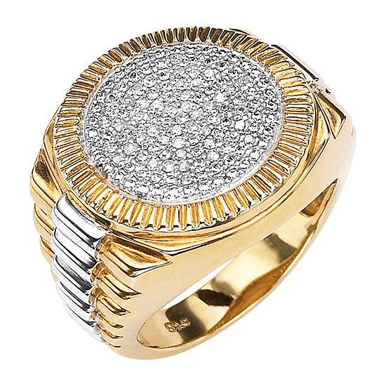 Mens 1/6 CT. T.W. Genuine White Diamond 18K Gold Over Silver Fashion Ring