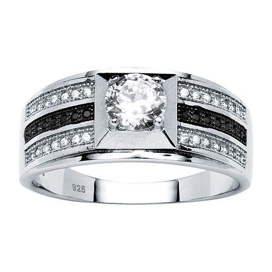 Diamonart Mens 7/8 CT. T.W. White Cubic Zirconia Platinum Over Silver Fashion Ring