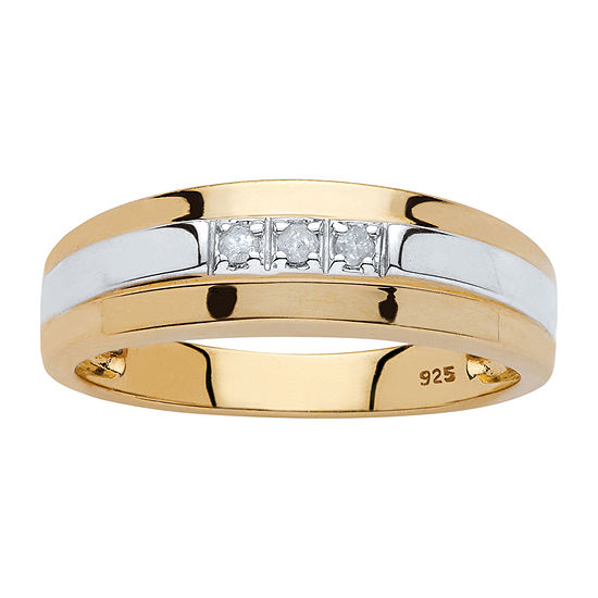 Mens 2.5MM Diamond Accent Genuine White Diamond 18K Gold Over Silver Band