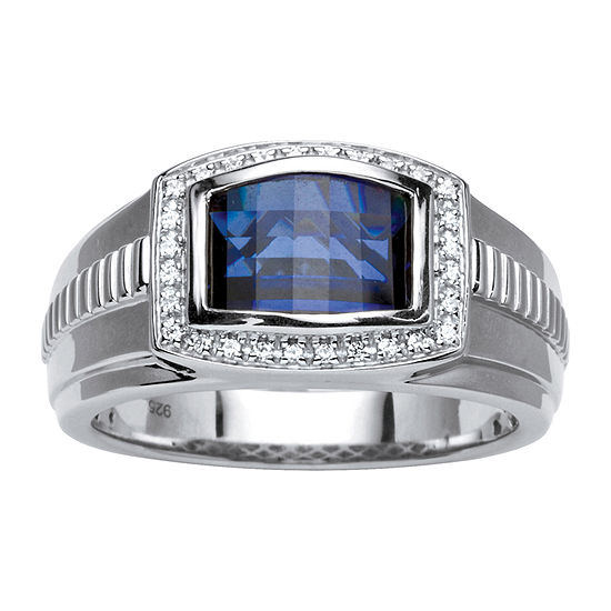 Mens 3 CT. T.W. Lab Created Blue Sapphire Platinum Over Silver Fashion Ring