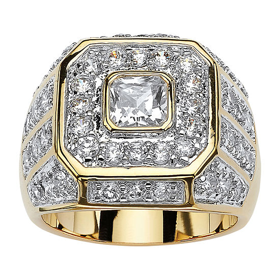 Mens 2 1/3 CT. T.W. White Cubic Zirconia 14K Gold Over Brass Fashion Ring