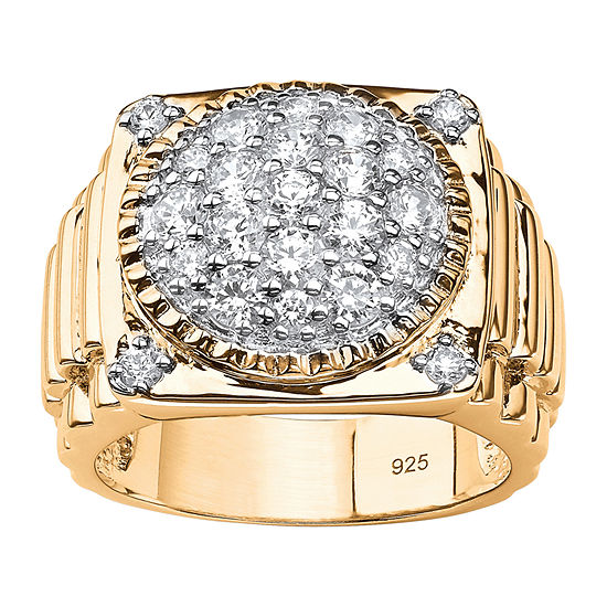 Diamonart Mens 1 5/8 CT. T.W. White Cubic Zirconia 14K Gold Over Silver Fashion Ring