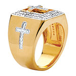Mens 1/10 CT. T.W. Genuine White Diamond 14K Gold Over Silver Cross Fashion Ring