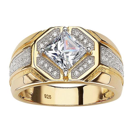 DiamonArt® Mens 1 1/2 CT. T.W. White Cubic Zirconia 14K Gold Over Silver Fashion Ring