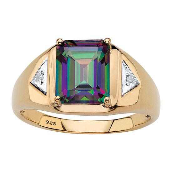 Mens 3 1/4 CT. T.W. Genuine Multi Color Topaz 18K Gold Over Silver Fashion Ring