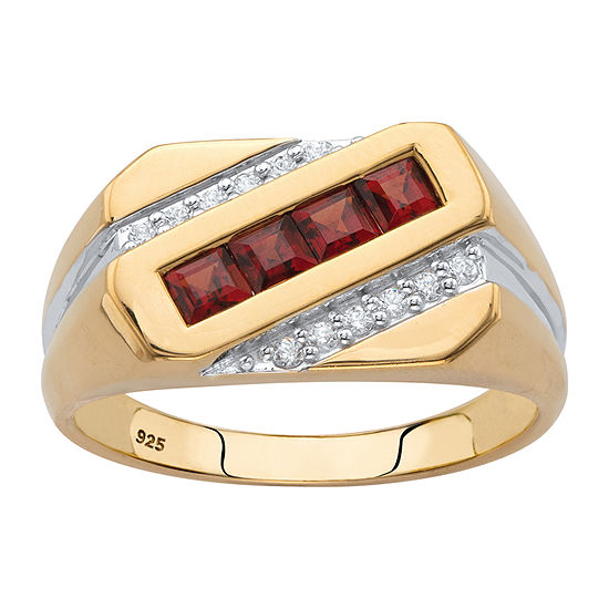 Mens 1 CT. T.W. Genuine Red Garnet 18K Gold Over Silver Fashion Ring