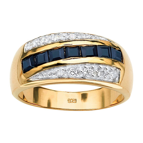 Mens 2 CT. T.W. Genuine Blue Sapphire 18K Gold Over Silver Fashion Ring