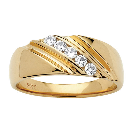 Diamonart Mens 2MM 1/2 CT. T.W. White Cubic Zirconia 18K Gold Over Silver Band
