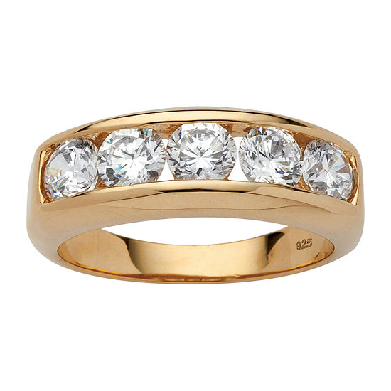 Diamonart 2.5MM 2 1/2 CT. T.W. White Cubic Zirconia 18K Gold Over Silver Band