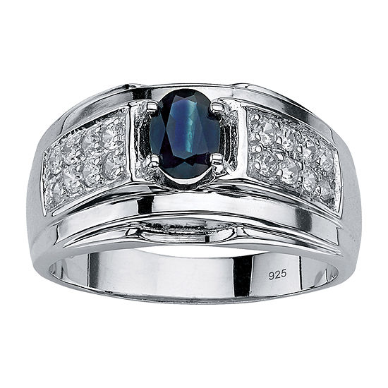 Mens 1 1/2 CT. T.W. Genuine Blue Sapphire Sterling Silver Fashion Ring