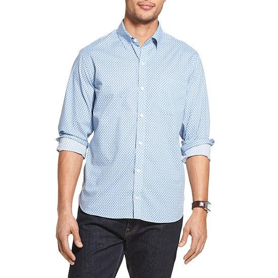 Van Heusen Never Tuck Mens Classic Long Sleeve Button-Front Shirt