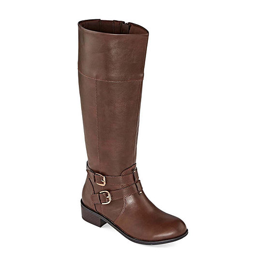 Arizona Womens Denver Wide Calf Block Heel Riding Boots