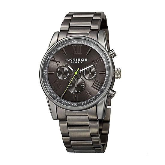Akribos XXIV Mens Gray Stainless Steel Bracelet Watch-A-912gy