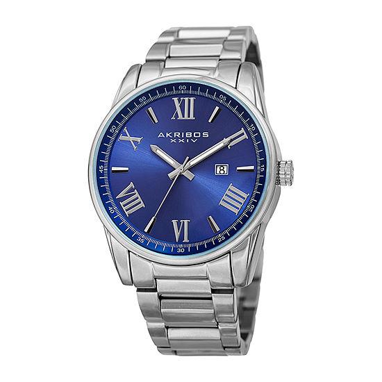 Akribos XXIV Mens Silver Tone Stainless Steel Bracelet Watch-A-936ssbu