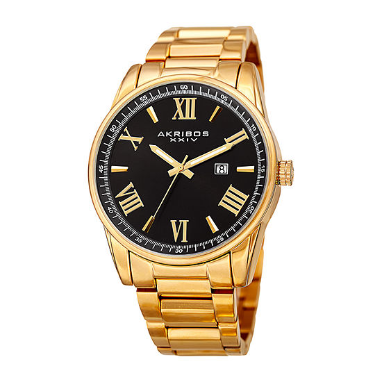 Akribos XXIV Mens Gold Tone Stainless Steel Bracelet Watch-A-936ygb