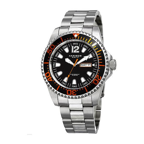 Akribos XXIV Mens Silver Tone Bracelet Watch-A-947ssor