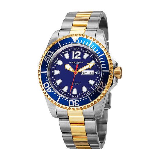 Akribos XXIV Mens Two Tone Stainless Steel Bracelet Watch-A-947ttg