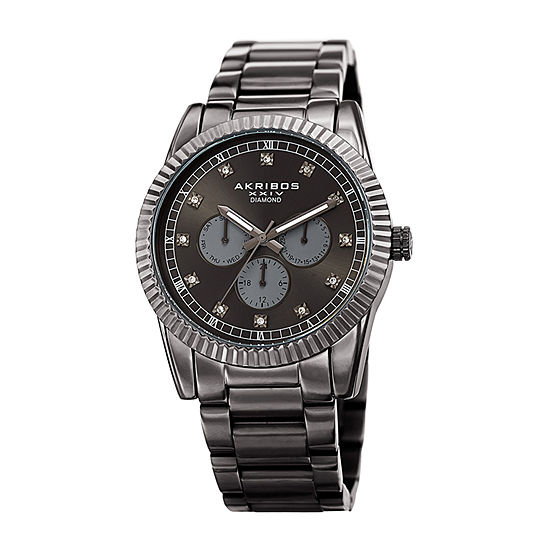 Akribos XXIV Mens Diamond Accent Crystal Accent Gray Stainless Steel Bracelet Watch-A-958gn