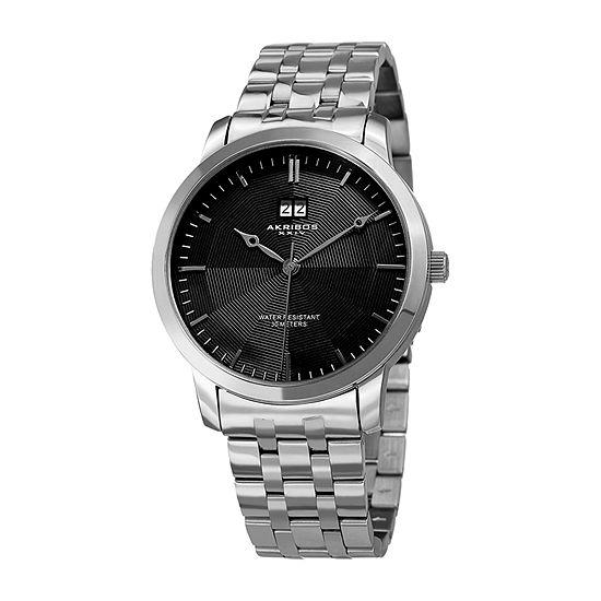 Akribos XXIV Mens Silver Tone Stainless Steel Bracelet Watch-A-997ssb