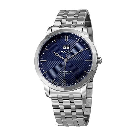 Akribos XXIV Mens Silver Tone Stainless Steel Bracelet Watch-A-997ssbu