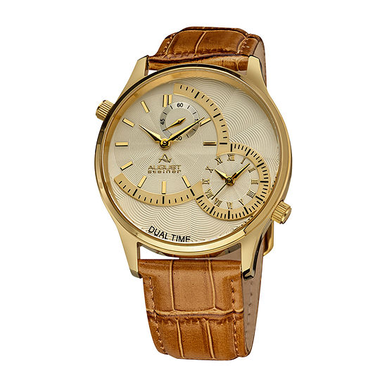 August Steiner Mens Brown Leather Strap Watch-As-8010yg