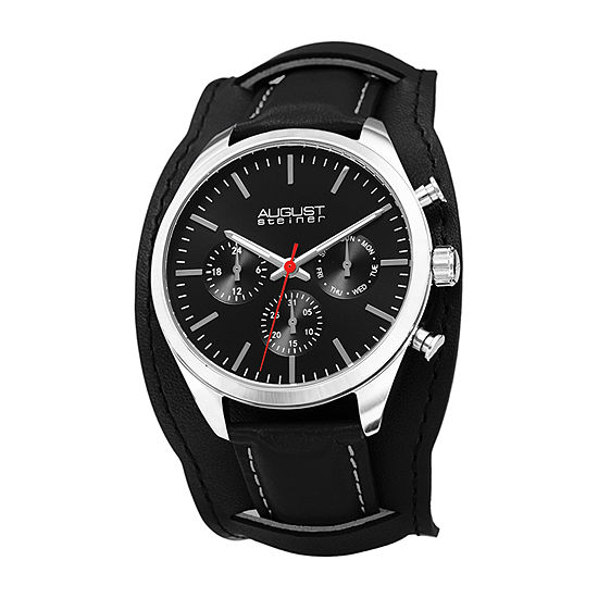 August Steiner Mens Black Strap Watch-As-8270bk