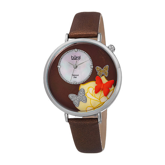 Burgi Womens Diamond Accent Crystal Accent Brown Leather Strap Watch-B-158br