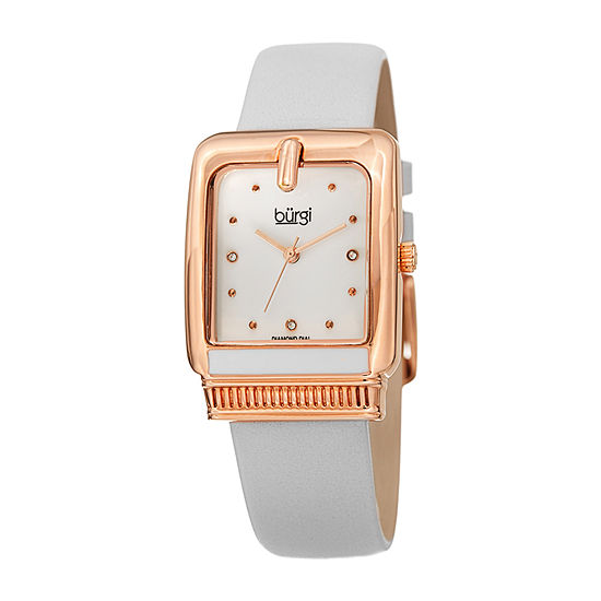 Burgi Womens Diamond Accent Crystal Accent White Leather Strap Watch-B-192wt