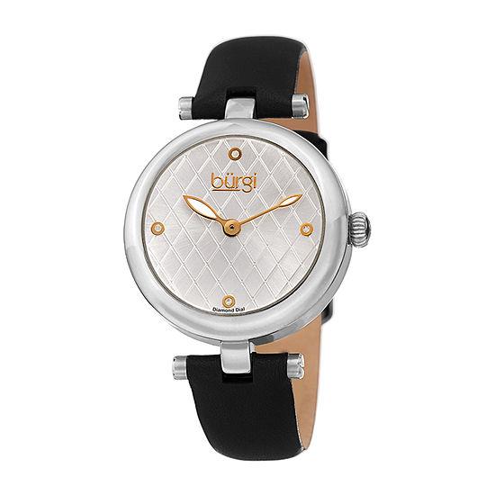 Burgi Womens Diamond Accent Crystal Accent Black Leather Strap Watch-B-196ssb