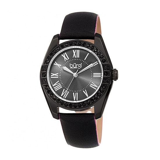 Burgi Womens Crystal Accent Black Leather Strap Watch-B-206bk