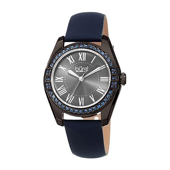 Burgi Womens Crystal Accent Blue Leather Strap Watch-B-206bu