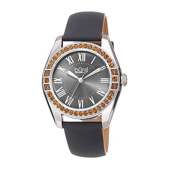 Burgi Womens Crystal Accent Gray Leather Strap Watch-B-206gy