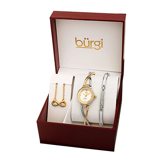 Burgi Womens Diamond Accent Crystal Accent Two Tone Bracelet Watch-B-213ttg-S