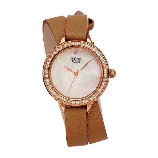 Burgi Womens Diamond Accent Crystal Accent Brown Leather Strap Watch-B-224br