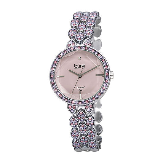Burgi Womens Diamond Accent Crystal Accent Silver Tone Bracelet Watch-B-232pk