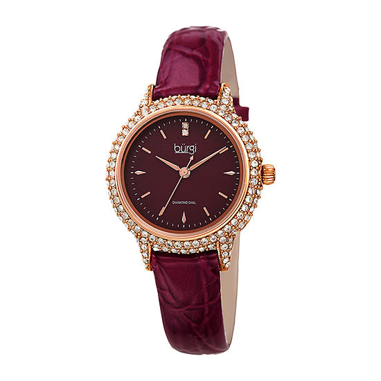 Burgi Womens Diamond Accent Crystal Accent Purple Leather Strap Watch-B-249pu