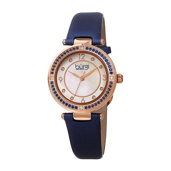 Burgi Womens Crystal Accent Blue Leather Strap Watch-B-251bu