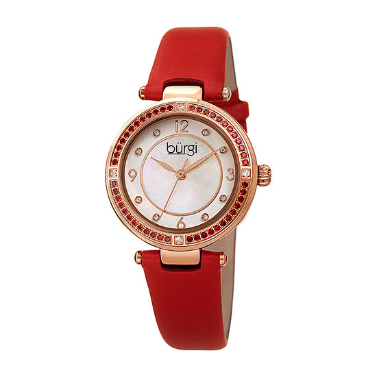 Burgi Womens Crystal Accent Red Leather Strap Watch-B-251rd