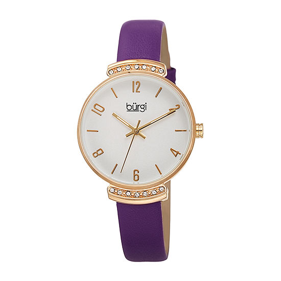 Burgi Womens Purple Leather Strap Watch-B-254pu