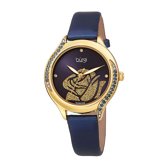 Burgi Womens Crystal Accent Blue Leather Strap Watch-B-257bu