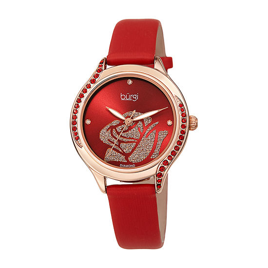 Burgi Womens Crystal Accent Red Leather Strap Watch-B-257rd