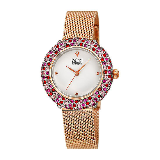 Burgi Womens Diamond Accent Crystal Accent Rose Goldtone Stainless Steel Bracelet Watch-B-258rg