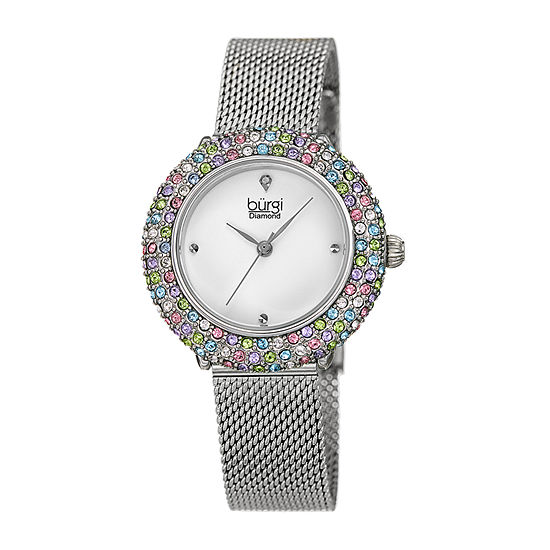 Burgi Womens Diamond Accent Crystal Accent Silver Tone Stainless Steel Bracelet Watch-B-258ss